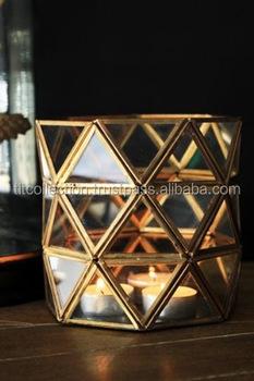 Geometrical Shape Lantern Glass Candle Lantern Metal Lantern Home