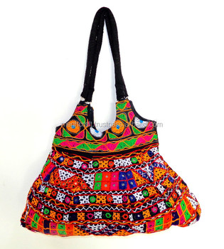 7521757566ed Indian traditional banjara style handbag - Vintage bohemian handbag -  Gujarati kutch embroidered shoulder bag -