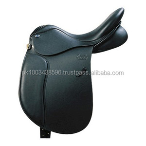BLACK LEATHER ENGLISH DRESSAGE TREELESS SADDLE