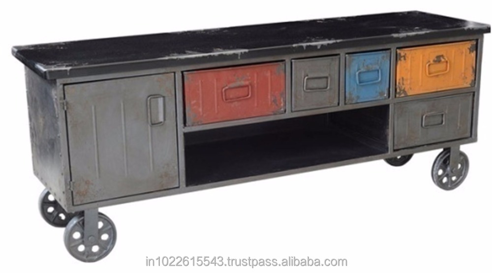 Modern Industrial Media Cabinet,Industrial Tv Stand With Drawers ...