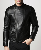 high quality leather man coat & jacket , men solid black leather