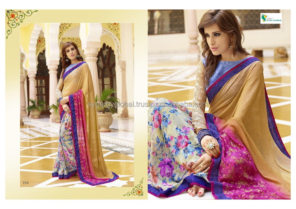 Latest collection Printed georgette sarees for women- Indian sarees wholesale online