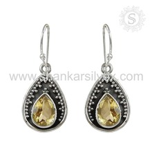 Women accessories yellow citrine wholesale earring Indian Silver Jewelry 925 sterling silver jewelry