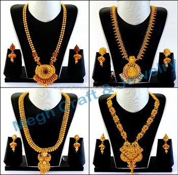 Indian One Gram Gold Long Necklace Set-wholesale South Indian Temple  Jewellery-south Indian Rani Haram Set-long Bridal Jewellery - Buy  Traditional