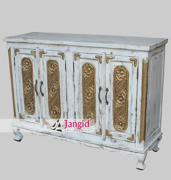 antique finish white washed colonial sideboard