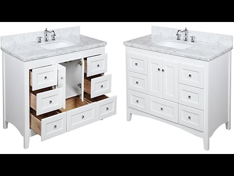 Abbey 48 Inch Carrara White Bathroom Vanity With Italian Marble Top Shaker Style