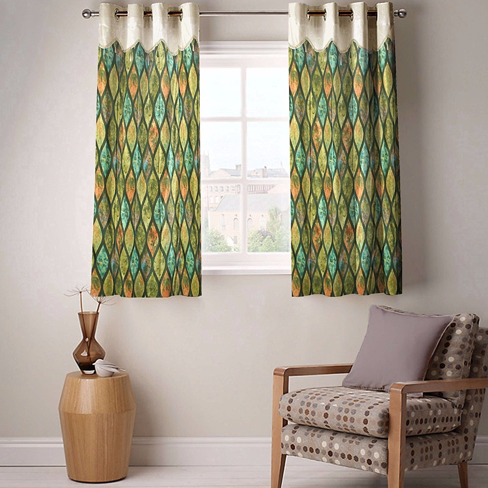 Fabutex Scallop & Lace Green Color Window curtain Pack of 2