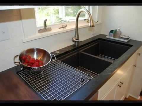 image of stainless steel kitchen sinks with drainboards. double