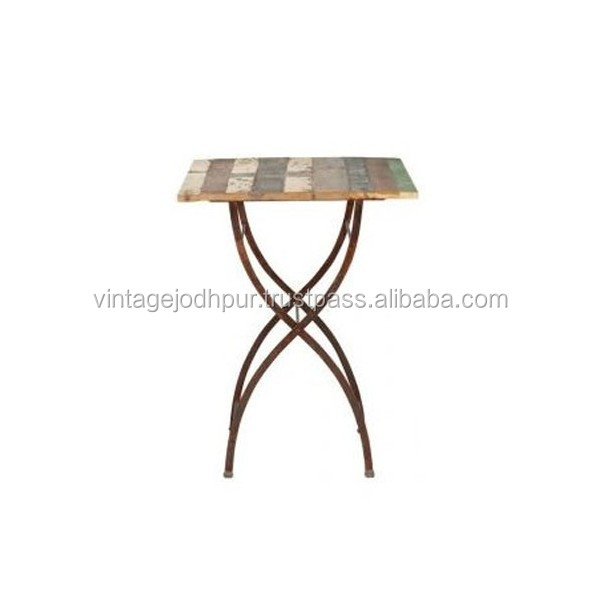 Reclaimed Wood & Iron Bar Table