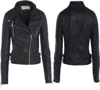 Womens Ladies Genuine Leather Quilted Ribbed Bomber Biker Jacket ...
