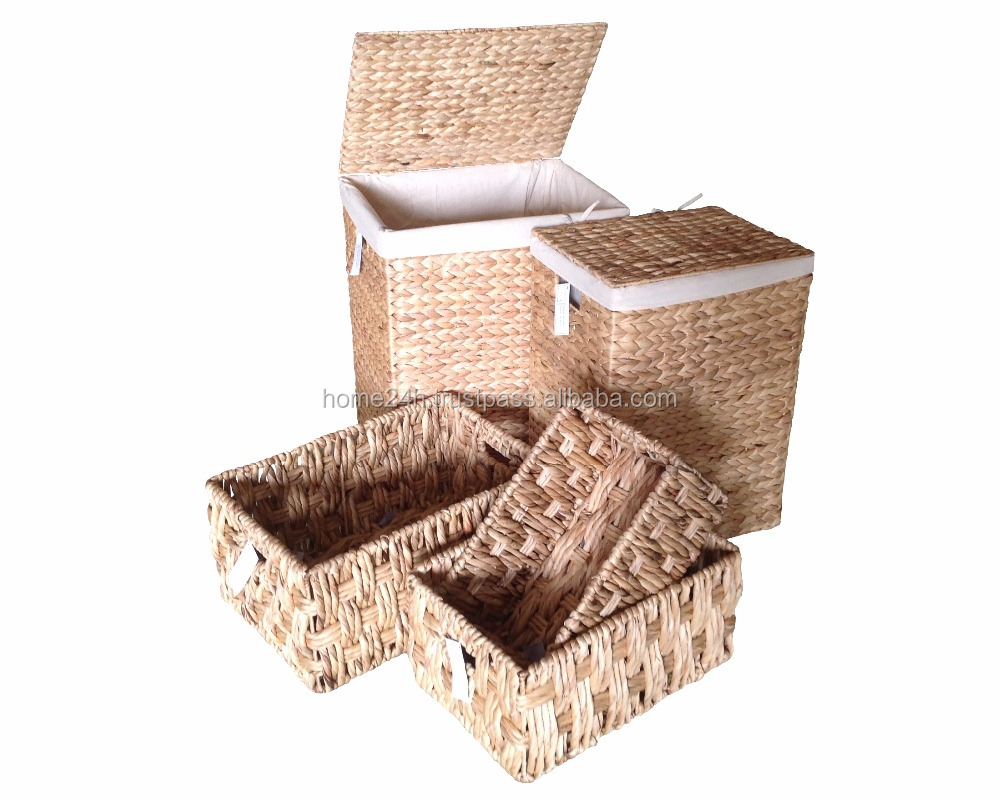 Water Hyacinth Homemade basket Hamper set - Laundry Hamper Baskets Handmade Wicker with iron