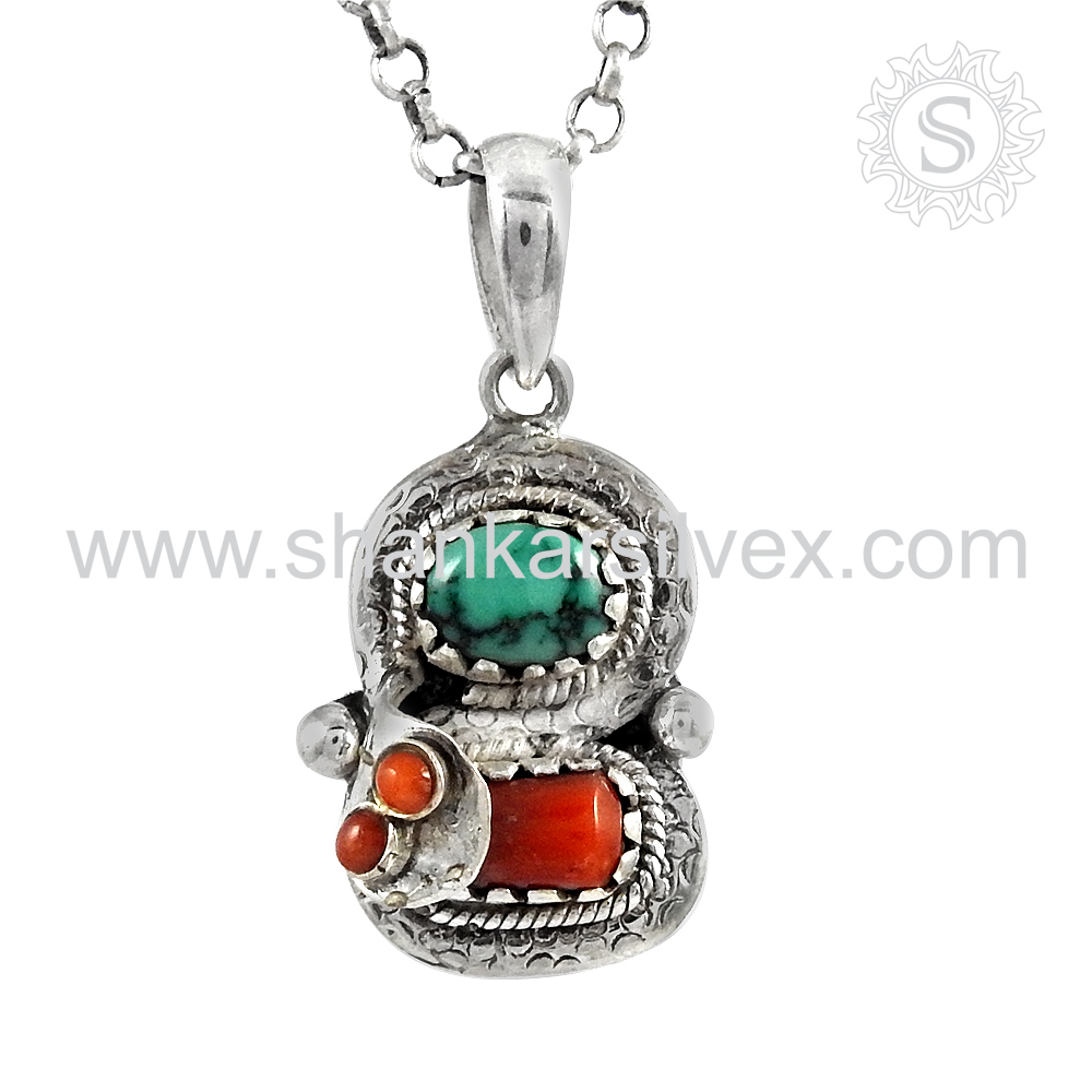 Fine Jewelry Coral Turquoise Pendant Gemstone Silver Jewelry 100% 925 Silver Pendant India Exporter