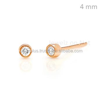 14k Rose Gold Single Stone Earrings Solitaire Diamond Studs