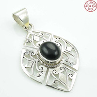 Solid 925 Sterling Silver Natural Black Onyx Filigree Pendant