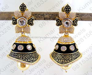 Heavy 22kt Gold Plated Diamond Look CZ Stone Beaded Pearl Drop Large Designer Party Wear Girlish Black Jhumka Earrings