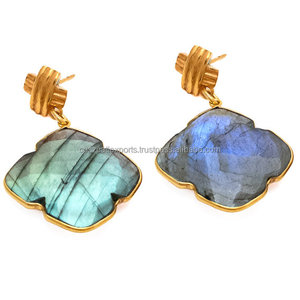 Earring New Designs 925 Solid Silver Labradorite Gemstone Earring Gold Vermeil