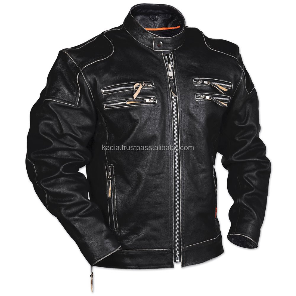 Leather jacket biking