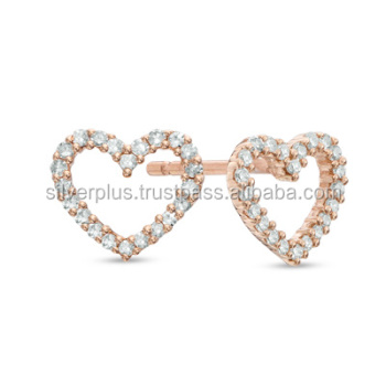 18k Rose Gold Studs Earrings Heart Shaped Pave Diamond Ear