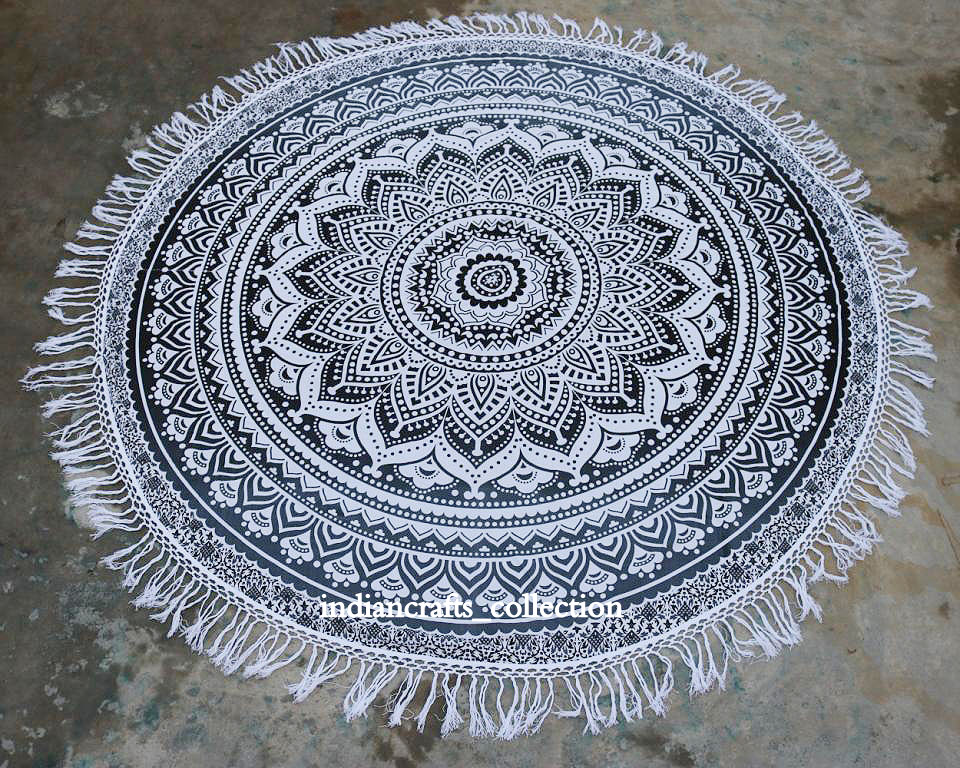 Indian Bohemian Beach Mandala Round Tapestry Hippie Throw Yoga Mat Towel Round_A104