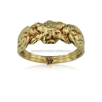 14k solid gold turkish rose design 4 band puzzle ring