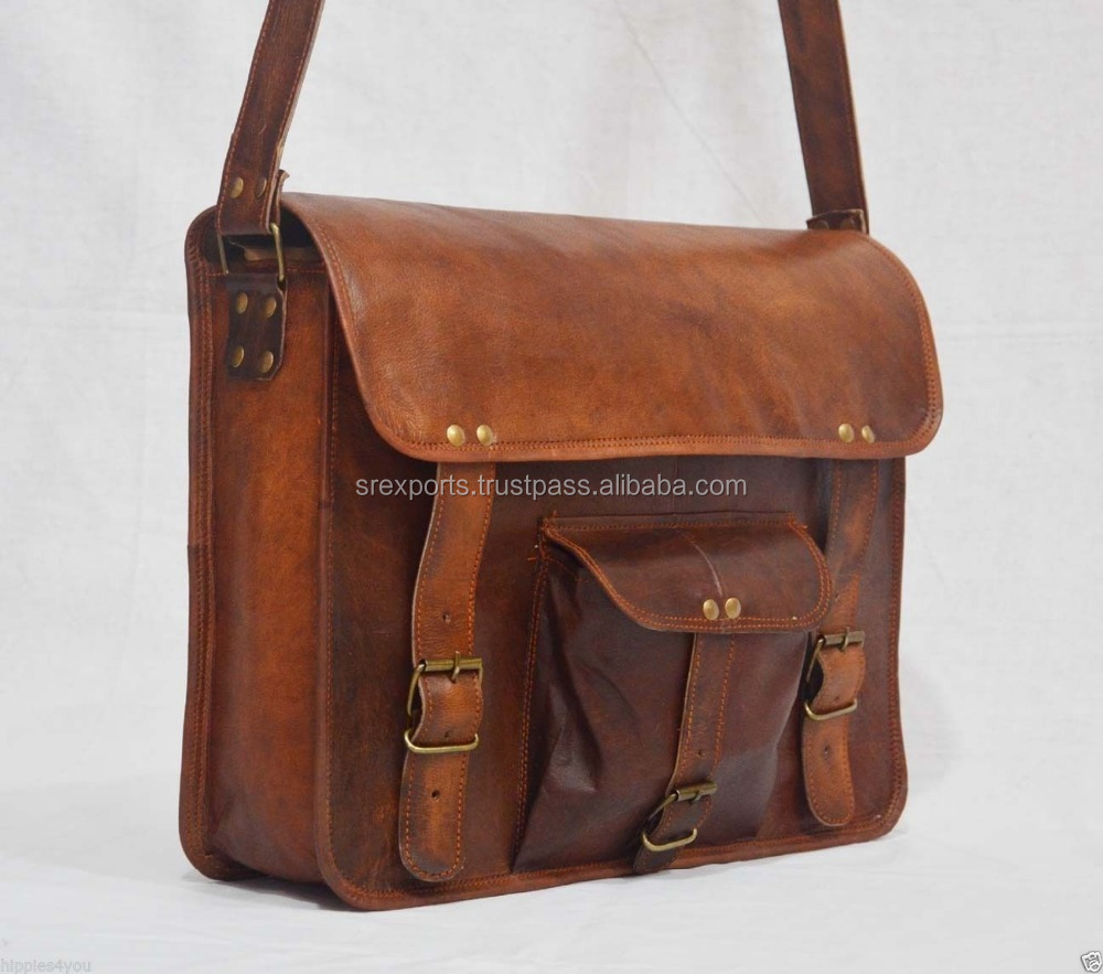 Real Leather Vintage Messenger Bag Shoulder Cross Body Bag Hippie Bag Briefcase