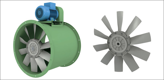 ACI EVc 630 Transmission-drive axial-flow fan with light alloy die-cast impeller with wing-profile blades. Motor placed outside