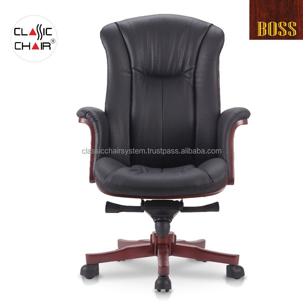 Wooden Executive Director Office Chair with Wooden Armrest, Malaysia Office Furniture