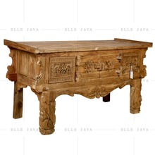 Wooden Furniture Old Teak Console Table Carving