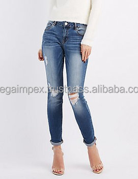 Distressed Denim Pant - Ladies Womens Super Skinny Destoyed Ripped Jeans  Distressed Jeans slim a705527156