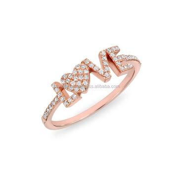 3f79690fb0ebc 18k Gold Pave Diamond Scripted Love Ring