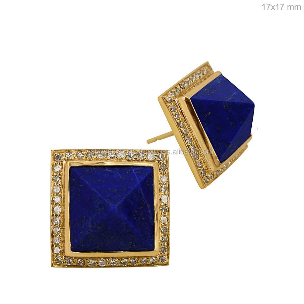 Single Stone 18k Solid Gold Stud Earrings Diamond Lapis Lazuli Gemstone Square Shaped Pyramid
