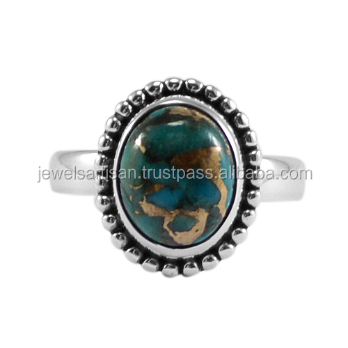 Blue Copper Turquoise 925 Sterling Silver Ring Jewelry