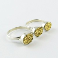 Double Finger Golden Druzy 925 Sterling Silver Ring, Silver Jewellery Wholeseller, Fashion Silver Jewellery India