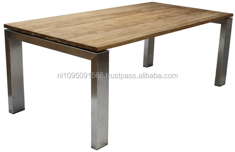Table en teck et en acier inoxydable tablelegs id de - Table en acier inoxydable ...