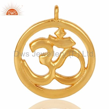 18k Gold Vermeil Brass Om Symbol Charm Jewelry Accessories Finding