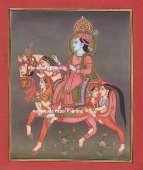 Hindu God Krishna Painting Artwork ISCON Vedic Yoga Horse Rare Indian