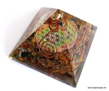 Big Orgone 7 Chakra Stone Pyramid With Flower Of Life Symbol And Crystal Point | Chakra Pyramid