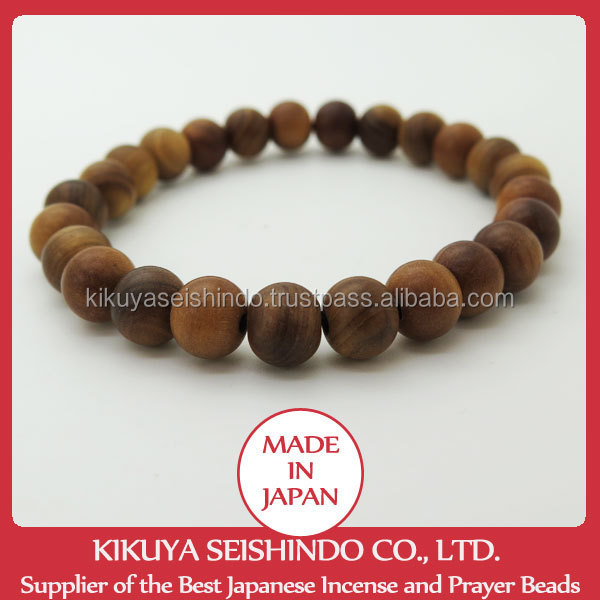 Real Sandalwood beads bracelet, Japanese bracelet made of aromatic sandalwood beads, Japanese traditional Lucky charm / talisman