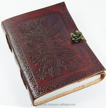 Reliëf 6x8 Greenman Leather Journal of note met <span class=keywords><strong>Slot</strong></span> voor gift hem of haar