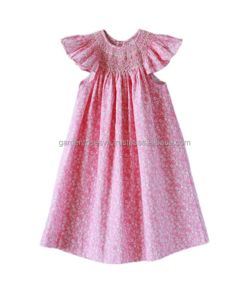 Sweet pink hand smocked baby girl dress