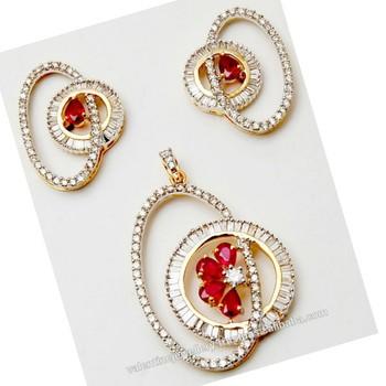 c93dfc846 Stunning Stylish Baguette Diamond Pendant Set - Buy Designer Gold ...