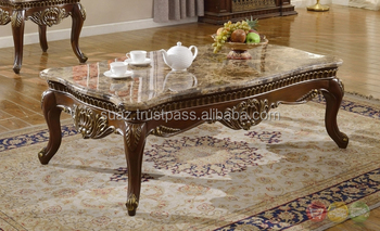 Marble Top Coffee Table Antique Designs Wooden Carving Sofa Center