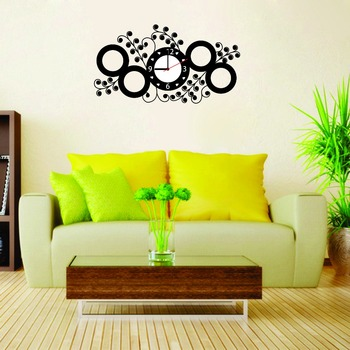 LASMI BLACK CIRCLE DESIGNER STICKER WALL CLOCK