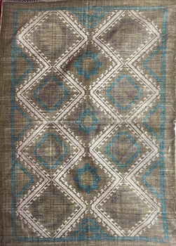 Indian Cotton Rug Rag Woven Carpet Blue And White Handmade