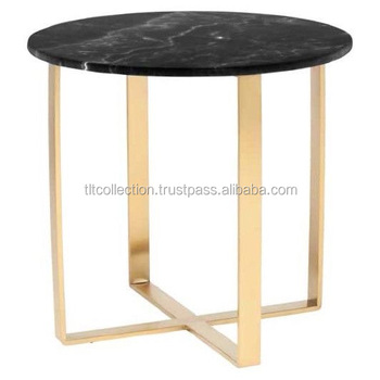 Iron Side Table With Marble Top And Gold Finished Coffee Black