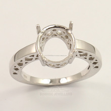 Wedding Designer Amazing Semi Mount Fine Ring 10x12 mm Oval 925 Sterling Silver