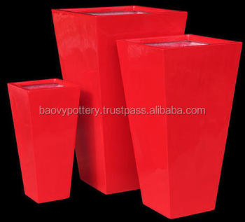 The Red Shiny Super Durable Fiberstone Planter Tall Polystone Outdoor Pots