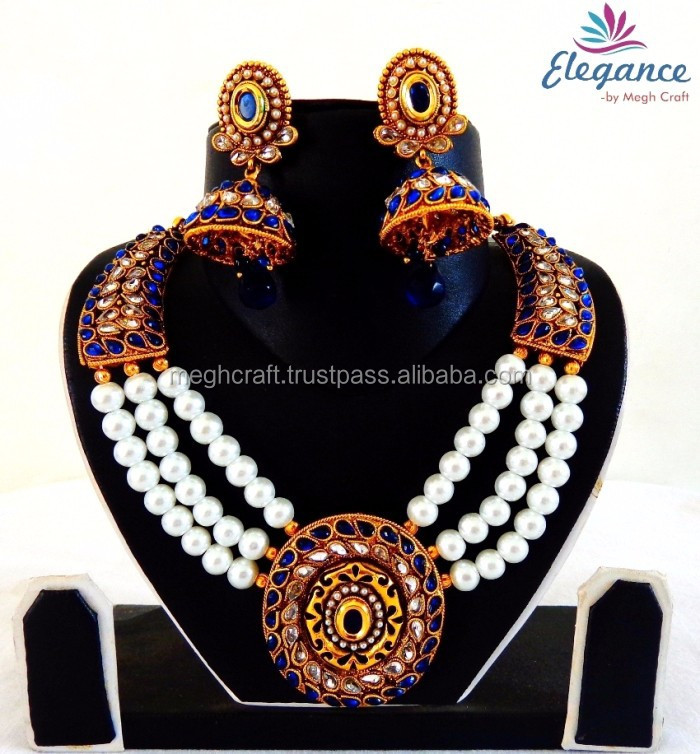 04bc0566e5557 Indian traditional pearl jewelry - Wholesale pearl necklace set -  Rajasthani rajwada set - Bollywood fashion jewellery set, View indian  bridal ...