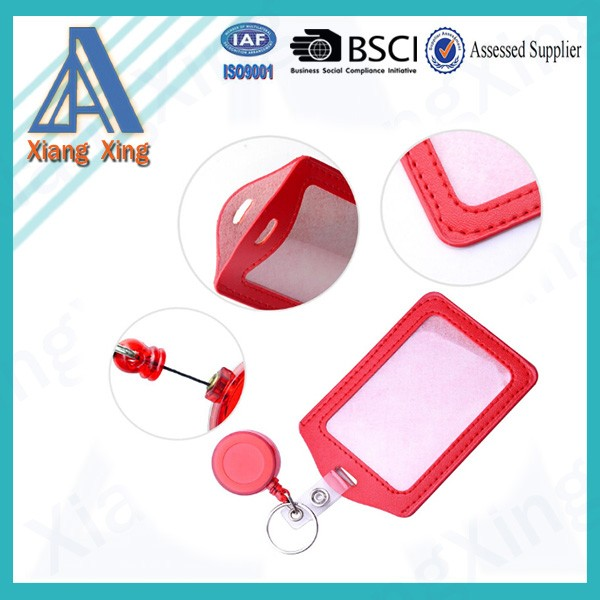 2-Sided Vertical PU Leather ID Badge Holder with 1 ID Window and 1 Card Slot and 1 piece Polyester Detachable Neck Lanyard