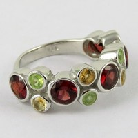 Top Quality !! Citrine & Garnet & Peridot 925 Sterling Silver Ring, For Beautiful Fingers, Discounted Silver Jewellery